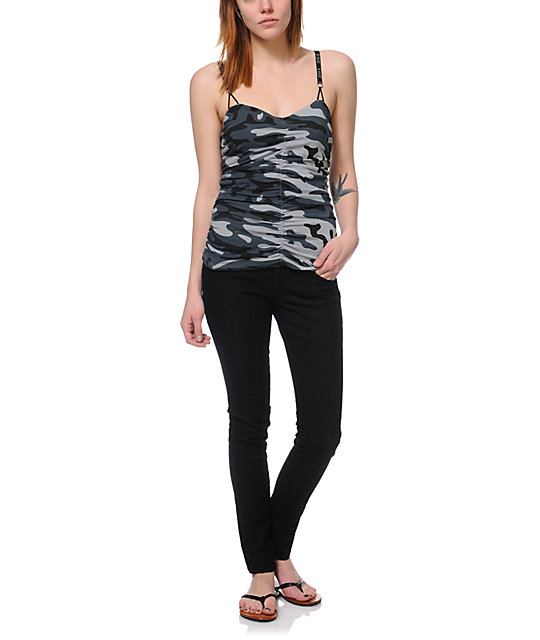 Fox In Command Camo Print Cami Tank Top