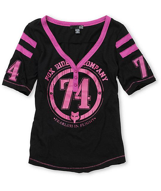 Fox Intake Black Football Henley T-Shirt