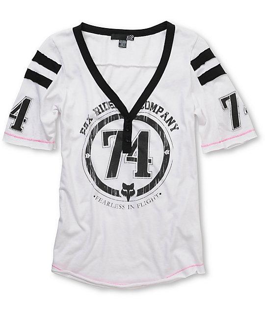 Fox Intake White V-Neck Football T-Shirt