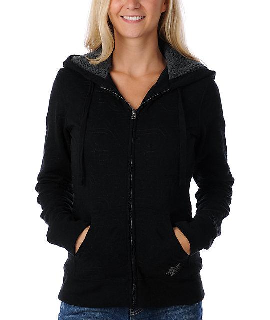 Fox Logger Quilted Black Zip Sweatshirt