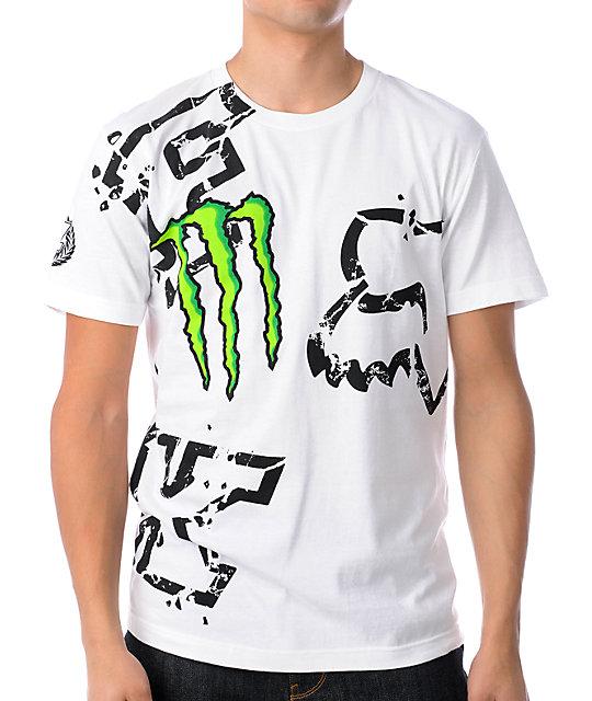 Fox Monster Energy Carmichael Replica White T-Shirt
