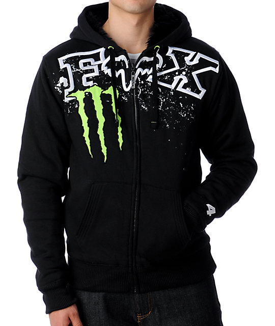 Fox Monster Energy Squatch Chop Black Hoodie