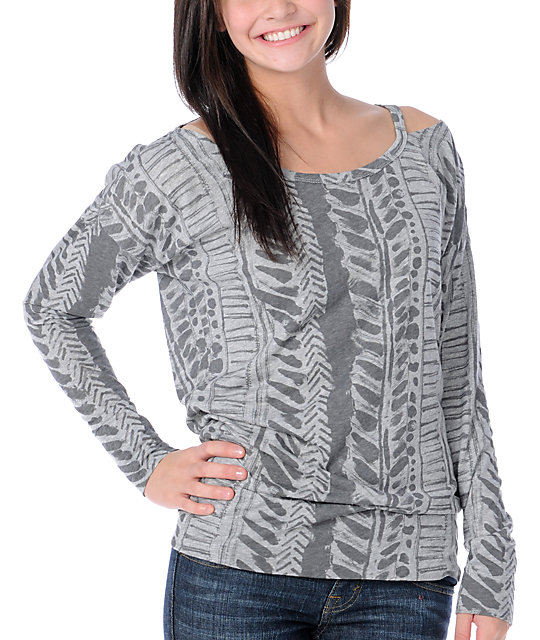 Fox Moto Doll Long Sleeve Grey Top