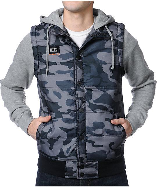 Fox Parnell Grey Camo Vest Hoodie