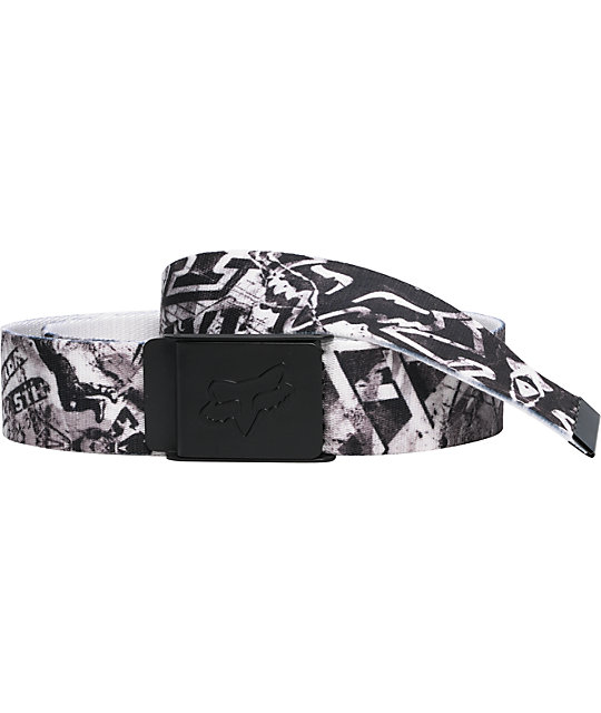 Fox Posted Black & White Web Belt