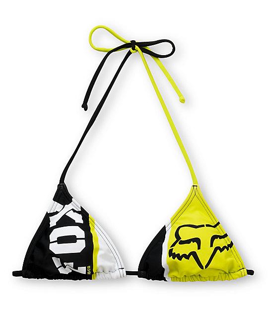 Fox Prime Lap Black & Green Triangle Bikini Top
