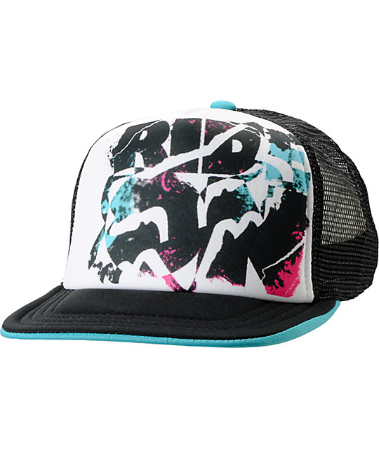 Fox Rock On White Trucker Snapback Hat