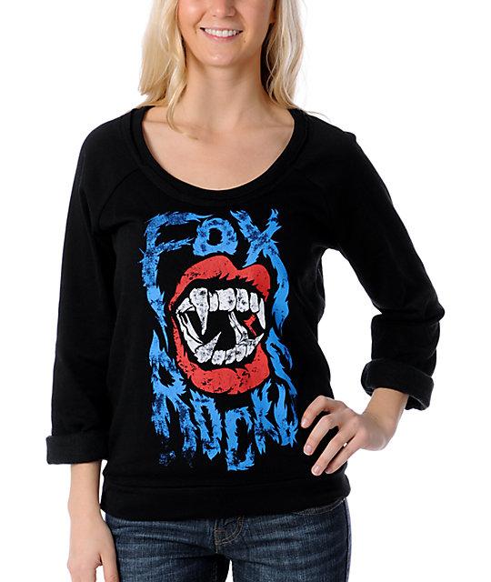 Fox Rocky Scoop-Neck Black Pullover Sweatshirt