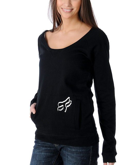 Fox Scripted Slashed Black Pullover Sweatshirt