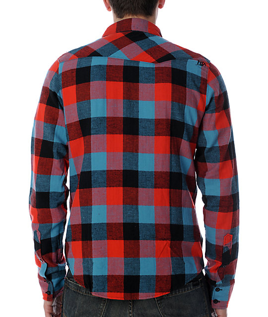 Fox Skeptic Red & Blue Flannel Shirt