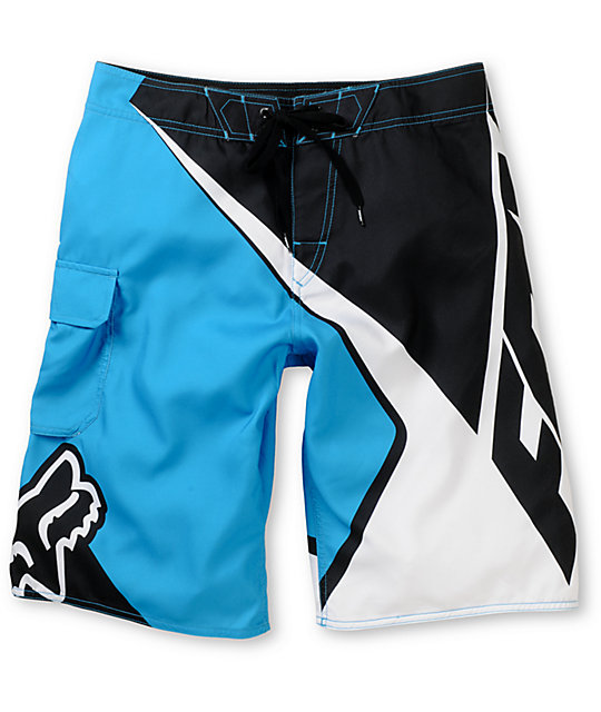 Fox Spike Sym Blue, White & Black Board Shorts