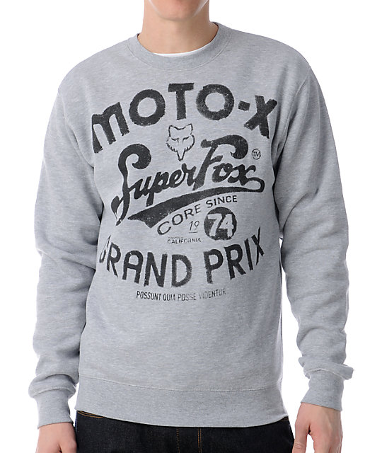 Fox Super Fox Moto x Grey Crew Neck Sweatshirt