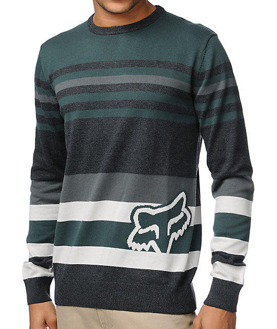 Fox Time Code Dark Green Crew Neck Sweater