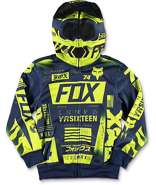 Fox Union Full Zip Boys Blue & Green Hoodie