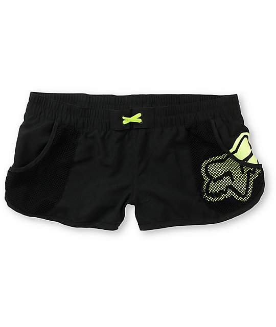 Fox Vented Black & Neon Yellow Board Shorts