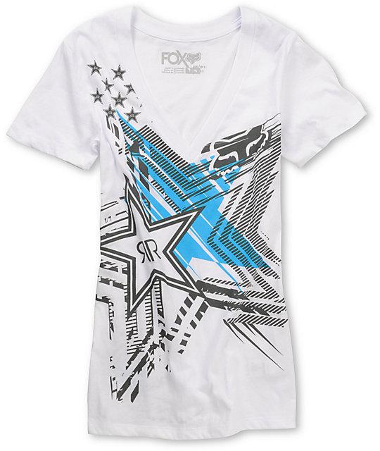 Fox x Rockstar Showdown White V-Neck T-Shirt