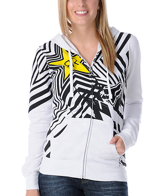 Fox x Rockstar Spike Vortex White Zip Up Hoodie