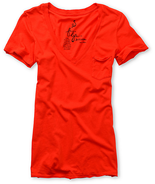 Free Life Raw Edge Red Pocket T-Shirt