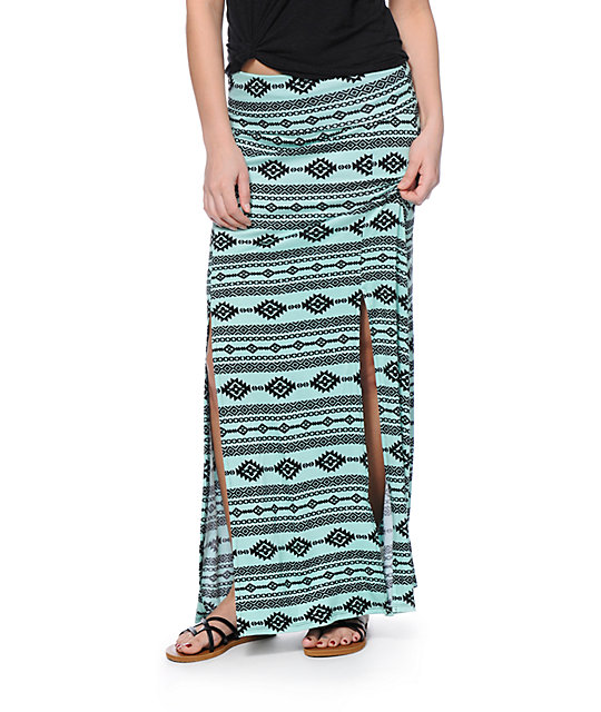 Free To Fly Mint & Black Tribal Print Maxi Skirt