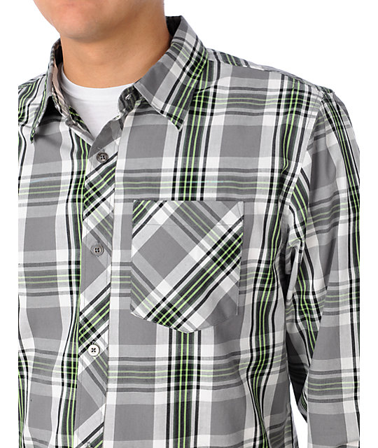 Free World Amnesty White & Green Woven Shirt