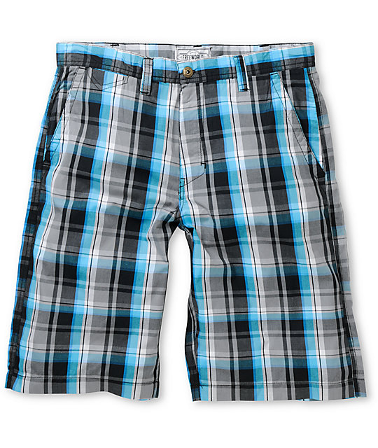 World Any Wear Blue & Black Plaid Shorts