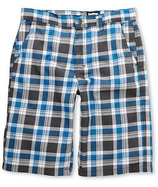 World B-Real Grey & Blue Plaid Shorts