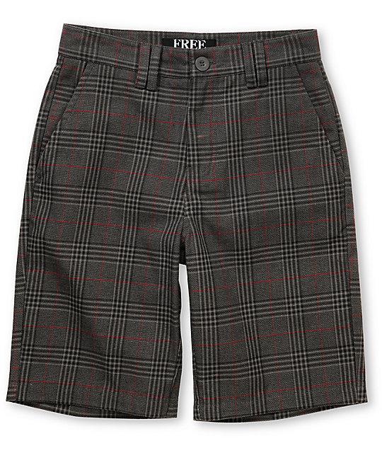 Free World Boys Scotsmen Grey Plaid Shorts