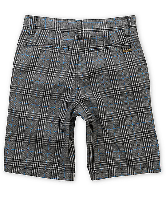 Free World Burbank Black, Blue & Grey Plaid Shorts