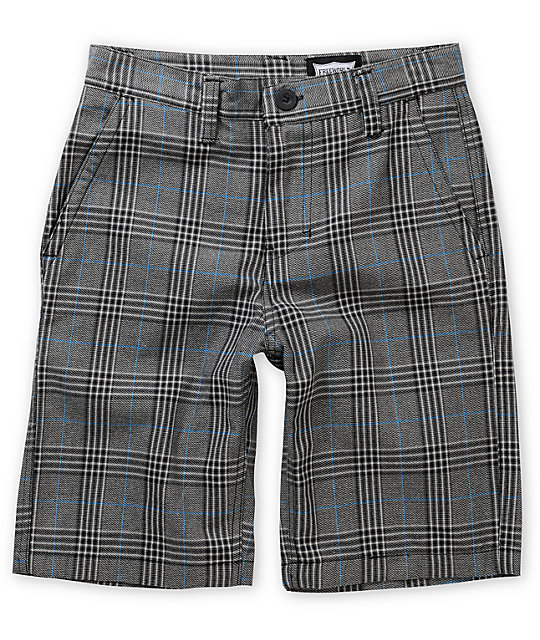 World Burbank Black, Blue & Grey Plaid Shorts