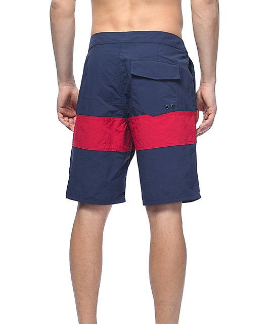 Free World Cutback Navy & Red Nylon Board Shorts