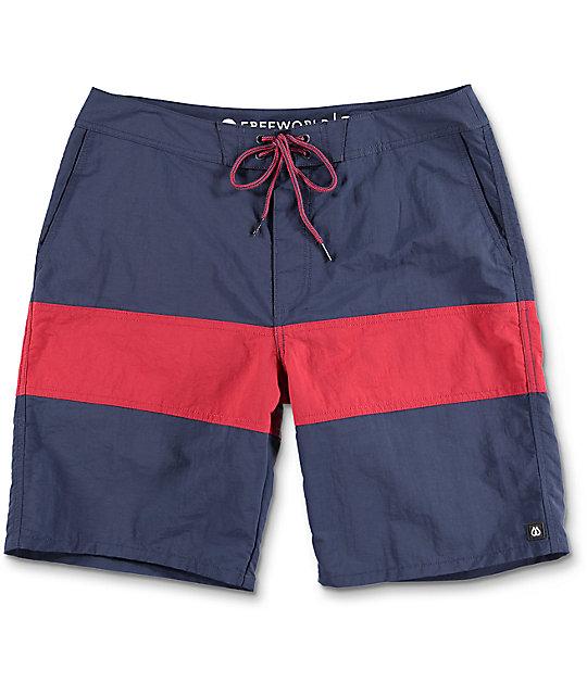 Free World Cutback Navy & Red Nylon Boardshorts