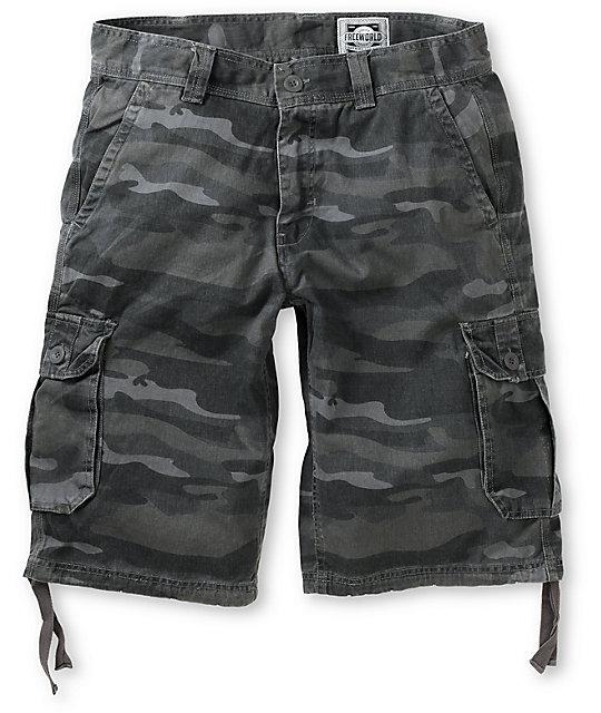 Free World Debacle Black Camo Twill Cargo Shorts