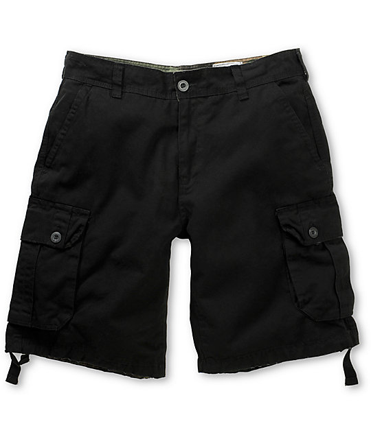 Free World Debacle Black Twill Cargo Shorts
