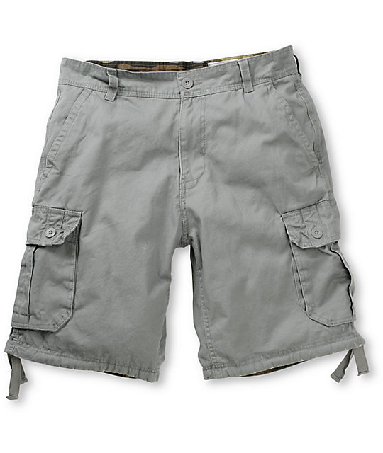 Free World Debacle Grey Cargo Shorts