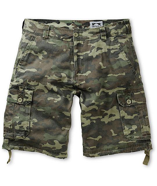 Free World Debacle Olive Bubble Camo Cargo Shorts