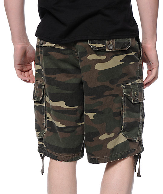 Free World Debacle Olive Camo Print Cargo Shorts