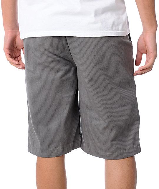 Free World Division Grey Pinstripe Shorts