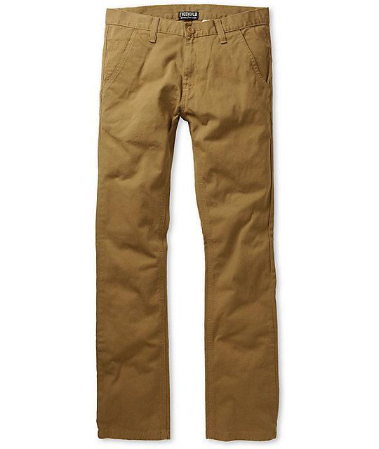 Free World Drifter Slim Straight Fit Dark Khaki Chino Pants