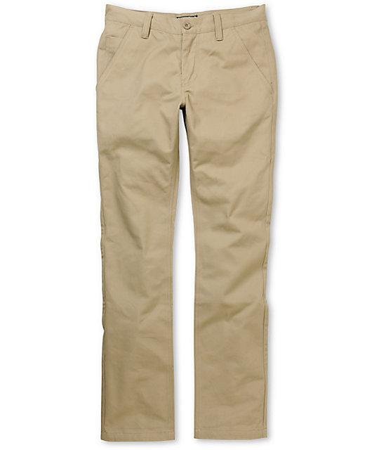 Free World Drifter Slim Straight Fit Khaki Chino Pants