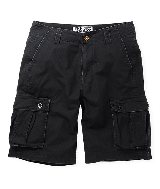 Free World Dual Ripstop Black Cargo Shorts