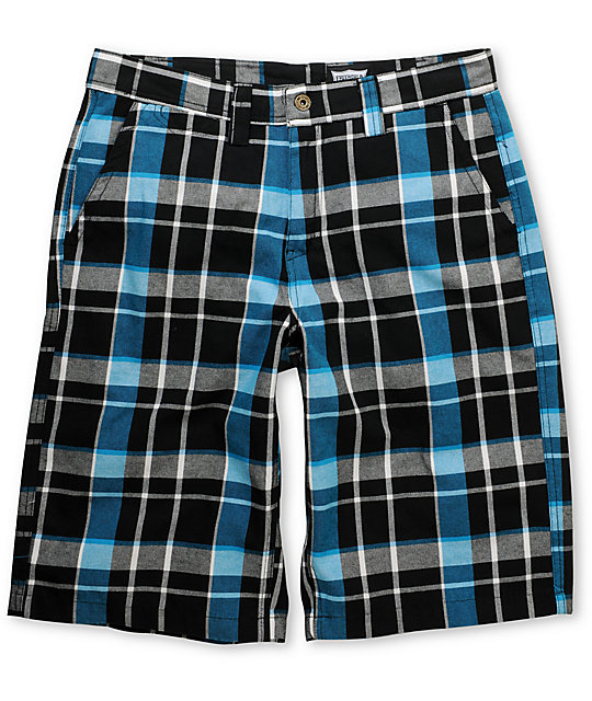 World Dubs Black & Blue Plaid Shorts