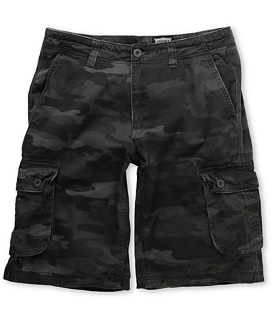 Free World Enforce Black Camo Cargo Shorts