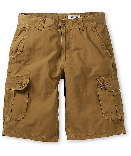 Free World Fiasco Dark Khaki Ripstop Cargo Shorts