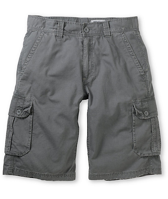 Free World Fiasco Grey Ripstop Cargo Shorts