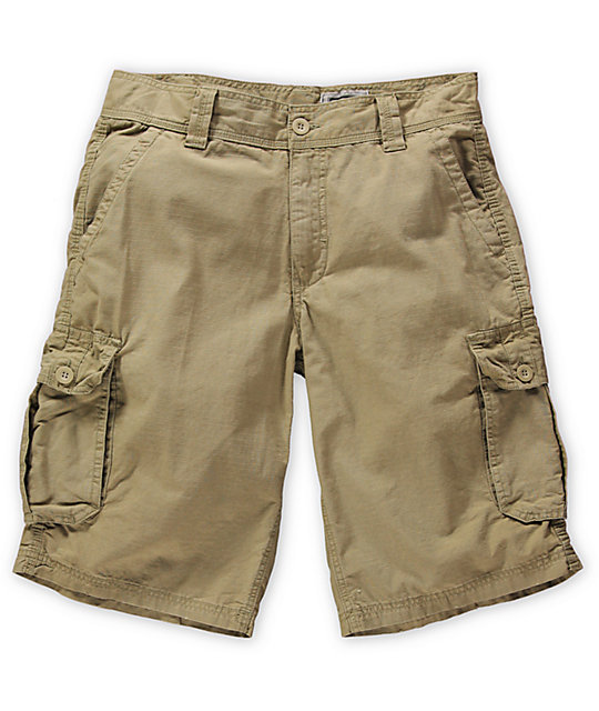 Free World Fiasco Khaki Ripstop Cargo Shorts