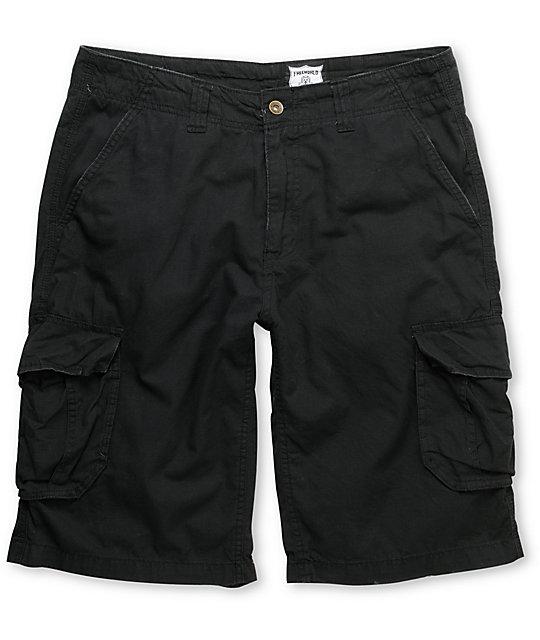 Free World Fink Black Ripstop Cargo Shorts