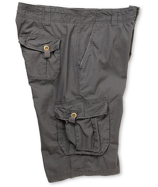 Free World Fink Charcoal Ripstop Cargo Shorts