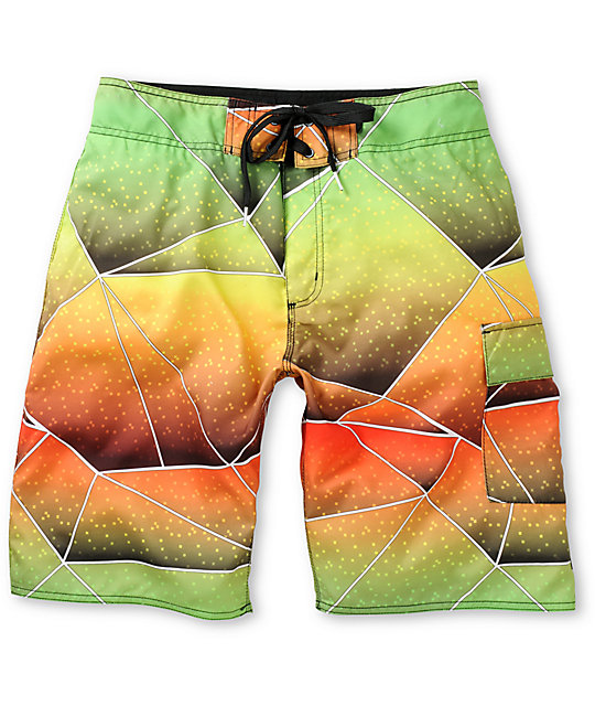 Free World Geocray Print Green & Orange Board Short
