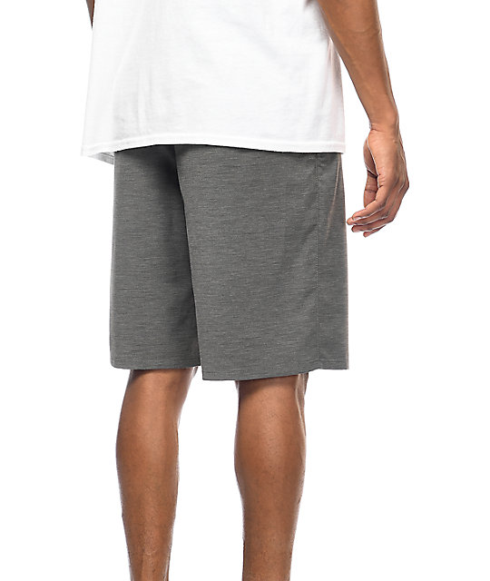 Free World Glassy Heather Charcoal Stretch Hybrid Shorts