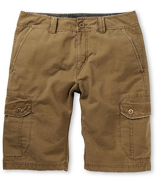 Free World Head Honcho Bedford Dark Khaki Cargo Shorts